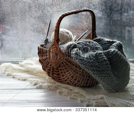 Autumn Knitting Concept. Preparation For Winter Season. Skeins Of Yarn For Knitting, Knitting And Kn
