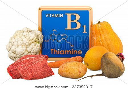 Foods Highest In Vitamin B1, Thiamin. 3d Rendering Isolated On White Background