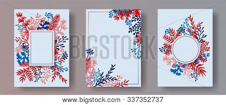 Watercolor Herb Twigs, Tree Branches, Leaves Floral Invitation Cards Set. Herbal Frames Retro Cards