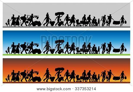 Asylum Seekers Silhouette With Different Backgrounds. The Silhouette Objects And Backgrounds Are In
