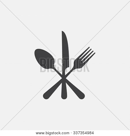 Spoon, Fork And Knife Icon, Crossed Symbol, Restaurant Flat Vector Illustration, Restaurant Symbol,