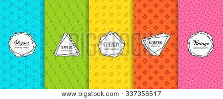 Vector Geometric Seamless Pattern Collection. Set Of Cute Minimalist Background Swatches With Elegan
