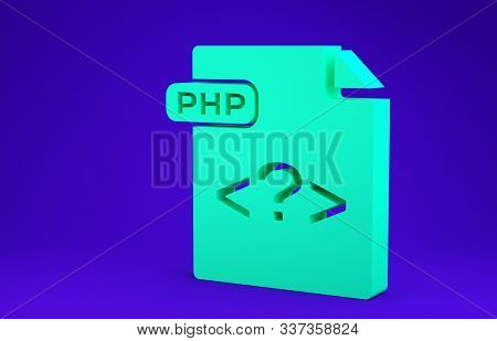 Green Php File Document. Download Php Button Icon Isolated On Blue Background. Php File Symbol. Mini