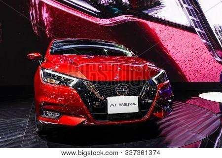 Bangkok, Thailand - Decemebr 3, 2019 : All New Nissan Almera 2019 Display On The Bangkok Motor Expo