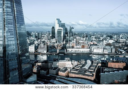 Stunning Panorama View Over Thames River, The Shard, The London Skyline And Cityscape From The Skysc