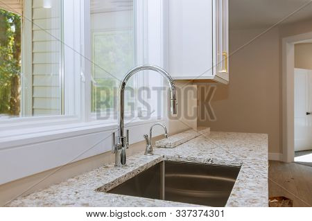 New Classic Kitchen In Modern Style A New Ceramic Sink In Kitchen