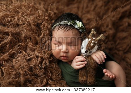 Cute Newborn Asian Baby Girl On Brown Fur With A Knitted Toy In Her Hands.