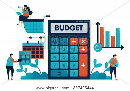 Planning Monthly Budget For Shopping And Purchase, Manage Financial Plan With Calculator, Financial