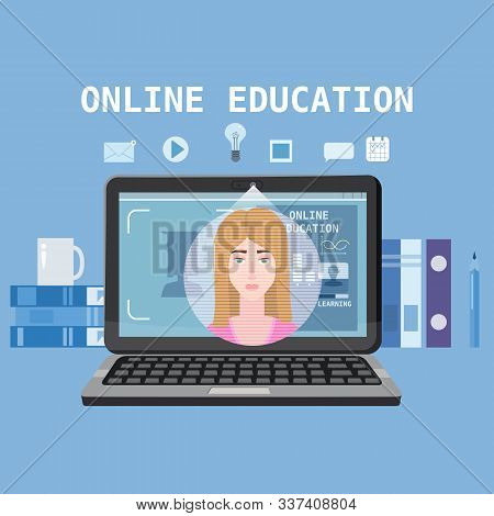 Online Education Training Coaching, Workshops And Courses. E-learning Page With Notebook, Pile Of Bo