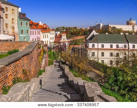 Beautiful Autumn Landscape Of Lublin (poland) With A Castle On A Hill. Colorful Panorama Of The Town