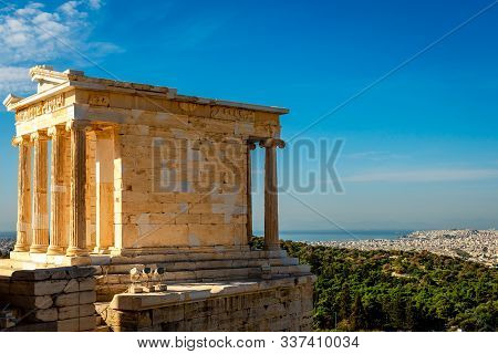 The Temple Of Athena Nike, On The Acropolis Of Athens, Greece, Named After The Greek Goddess Athena.