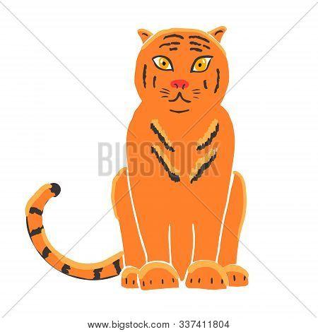 Tiger Isolated On White Background. Gorgeous Exotic Carnivorous Animal With Stripy Coat. Graceful La
