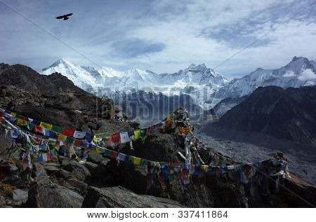 Himalayas, Nepal - June 03, 2019: Hiking in Nepal Himalayas, Bird flying over top of Gorio Ri with view of Cho Oyu mountain