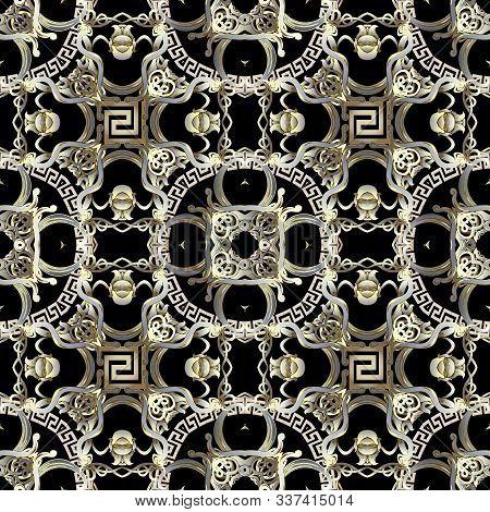 Intricate Modern Vintage Greek Vector Seamless Pattern. Elegant Ornamental Floral Background. Geomet