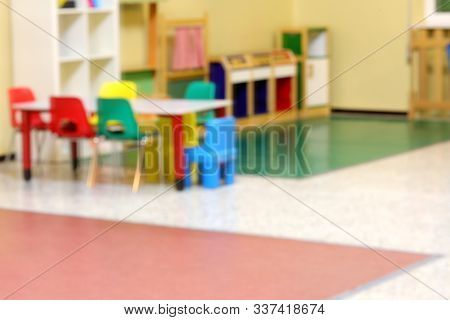 Inside A Kindergarten Intentionally Out Of Focus Without People