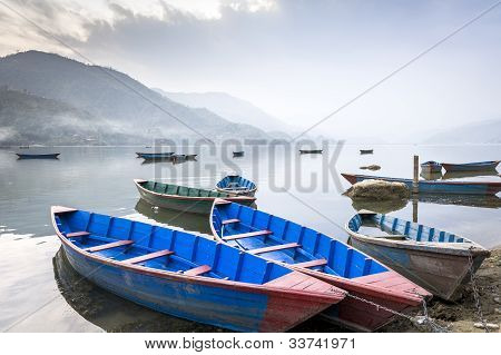 Boats On Fewa Lake In Pokhara, Nepal