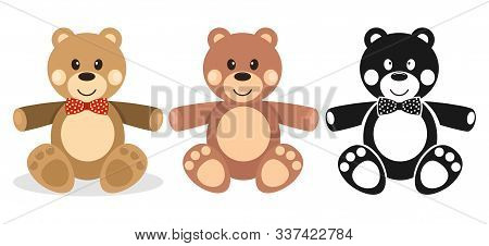 Teddy Bear, Set Of Teddy Bears, Silhouette Of A Teddy Bear. Vector Illustration Of A Soft Childrens