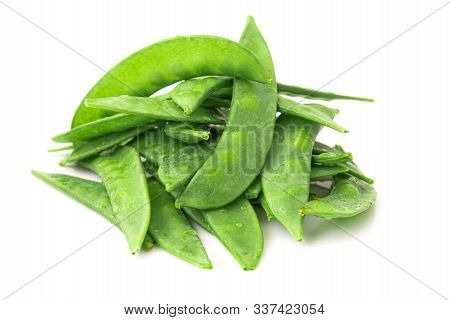 Organic Snow Peas, Isolated On White Background. Closeup, Selective Focus.