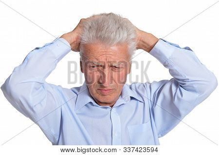 Close Up Portrait Of Sad Senior Man Isolated On White Background