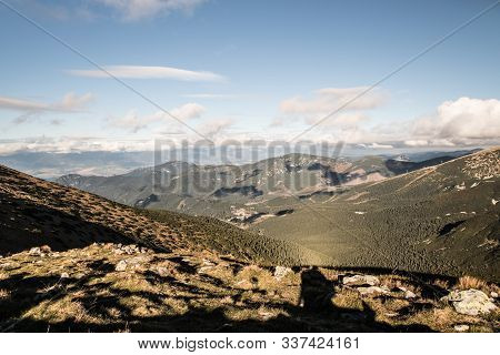 Krakova Hola, Poludnica And Many Others Hills From Polana Hill In Nizke Tatry Mountains During Autum