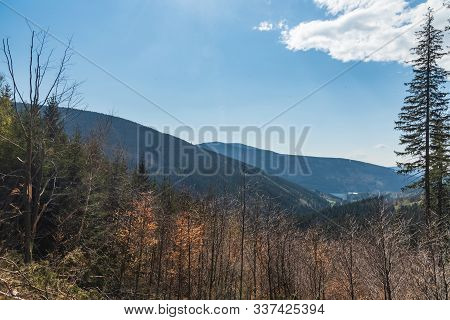Moravskoslezske Beskydy Mountains Scenery With Hills, Moravka Water Reservoir And Blue Sky With Clou