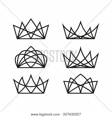 Royal Crowns Deluxe. Quality Crown Icons. Crown Symbol Vector Illustration