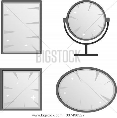 Mirror, A Set Of Mirrors Of Different Shapes. Vector Illustration Of A Mirror.