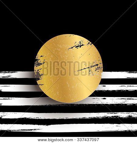 Round Golden Stamp Vector Illustration. Glittering Metallic Circle On Striped Black Background. Shin