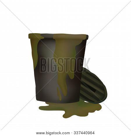 Stinking Trash. Vector Illustration. Green Mud Flows. Recycle Bin.