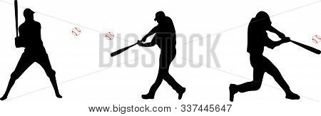 Baseball Player And Baseball Silhouette Icon On White Background