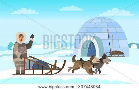 Eskimo Wearing Fur Clothes Standing Near Sleigh With Husky. Man Hunter Character Waving Hand Near Ig