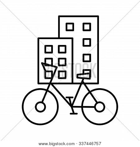 The Urban Type Of Bicycle Is Parked On A City Street Near Non-skydiving Buildings. Editable Outline