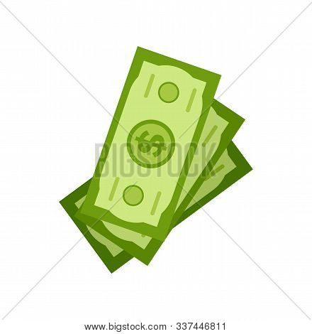Stock Of Dollars Isolated On White, Investment And Crowdfunding Concept. Finance And Cash, Credit Pa