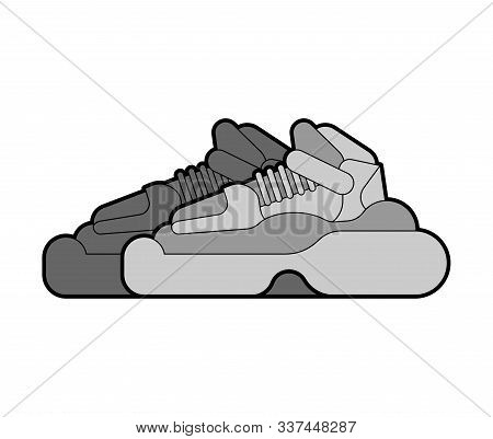 Trendy High-soled Sneakers Isolated. Modern Shoes With Large Sole. Fashion Vector Illustration