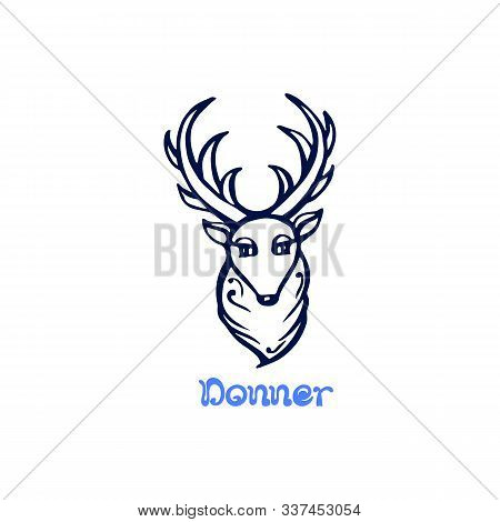Hand Drawn Christmas Deer Donner Isolated On White
