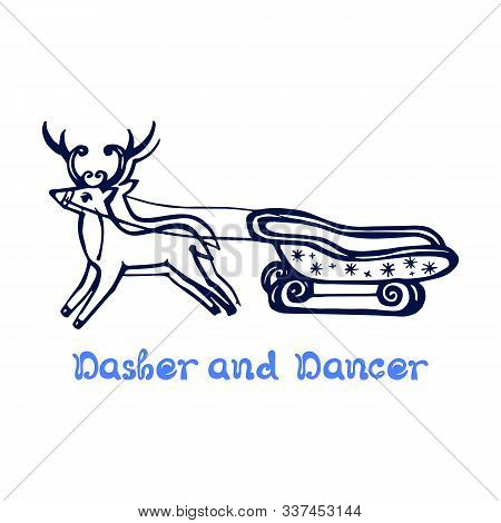 Hand Drawn Christmas Deer With Sleigh Isolated On White