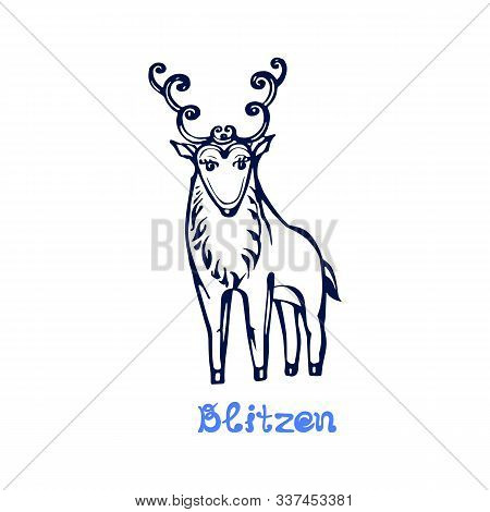 Hand Drawn Christmas Deer Blitzen Isolated On White