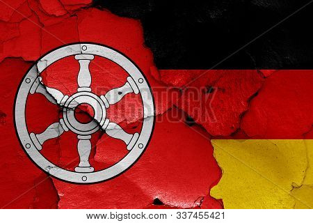 Flags Of Erfurt And Germany Painted On Cracked Wall