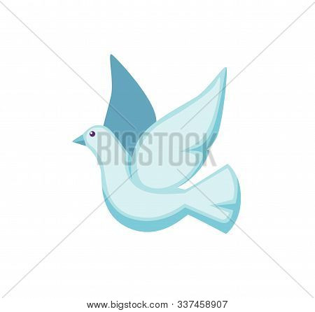 White Pigeon Flat Vector Illustration. Cute Illusionist Bird. Flying Dove With Feathered Wings Isola