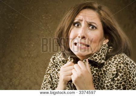 Frightened Hispanic Woman