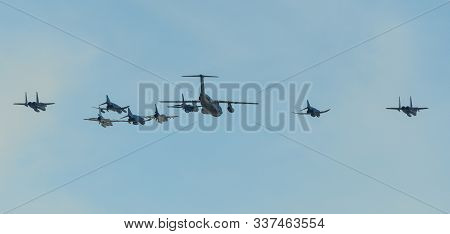 Military Aircraft Flying For Display