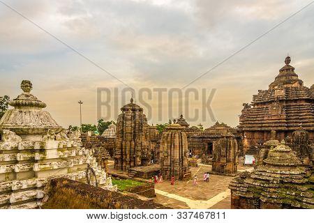 Bhubaneswar,india - November 9,2019 - View At The Lingaraja Temple Complex In Bhubaneswar. Bhubanesw