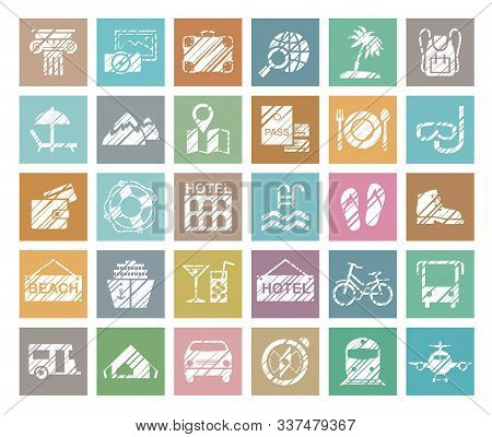 Travel, Vacation, Tourism, Vacation, Icons, Pencil Shading, Vector, Colored. Different Types Of Holi