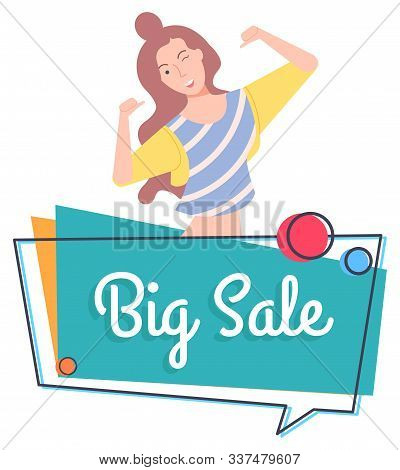 Cheerful Personage Vector, Isolated Female Character Winking And Pointing On Herself. Proposition Of