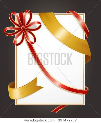 Gift Card Or Present, Empty Banner With Decorative Silk Stripe And Ribbon Bow. Serpentine And Shiny