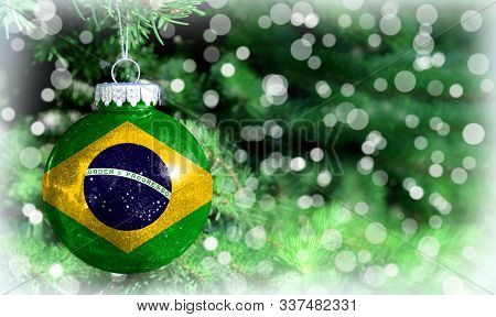 Christmas And New Year Background With A Flag Of Brazil