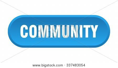 Community Button. Community Rounded Blue Sign. Community
