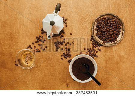 Flat Lay Of Making Alternative Coffee. Roasted Coffee Beans, Grounded Coffee, Geyser Maker, Espresso