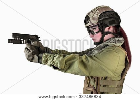 Beautiful fully equipped military soldier woman aiming at the enemy with pistol, isolated photo. poster