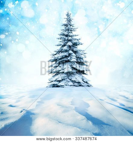Winter landscape with New Year's background.Christmas landscape with snow and fir trees. Merry Christmas and happy new year concept.